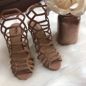 Mossimo Supply Co Tan Caged Heels Size 8.5